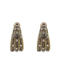 Ancient Gold Alloy Diamond Geometric Shape Earrings
