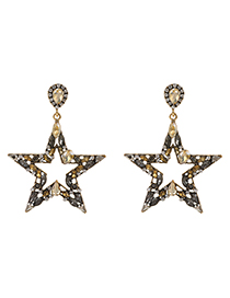 Champagne Alloy Diamond Hollow Five-pointed Star Earrings
