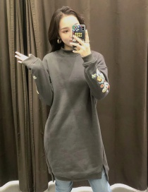 Fashion Dark Gray Long Sweater With Embroidery And Velvet Slit