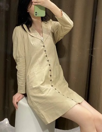 Fashion Khaki Cotton And Linen Puff Sleeve Breasted Suit Dress