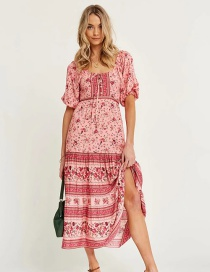 Fashion Printing Long Dress With Printed Neckline And Tie