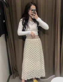 Fashion Fish Scale Apricot Flower Double-sided Knitted Wool Lace Skirt