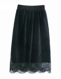 Fashion Heptagonal Black Flower Flower Double-sided Knitted Wool Lace Skirt
