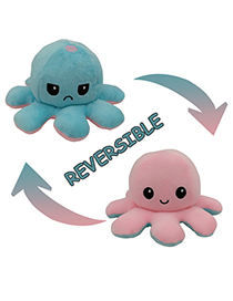 Fashion Pink+light Blue Double-sided Flip Doll Octopus Plush Doll