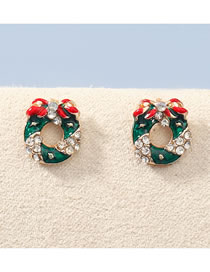 Fashion Christmas Wreath Christmas Series Oil Drop Diamond Christmas Wreath Earrings