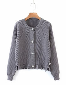 Fashion Gray Two-wear Oblique Button Sweater Knitted Cardigan