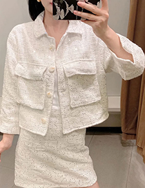 Fashion White Sequined Single-breasted Cropped Coat