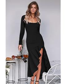 Fashion Black Fishtail High Waist Square Neck Long Sleeve Dress