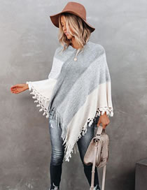 Fashion Gray Gradient V-neck Loose Tassel Stitching Sweater