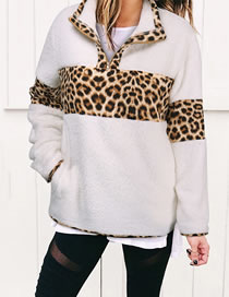 Fashion White Leopard Print Stitching Long-sleeved Sweater