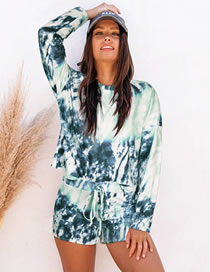 Fashion Blue-green Two-piece Tie-dye Long-sleeved T-shirt Shorts