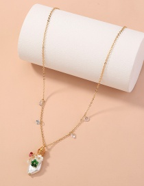 Fashion Golden Special Shaped Pearl Natural Stone Pendant Single Layer Necklace