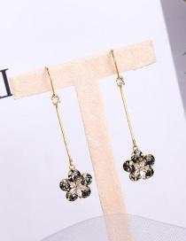 Fashion Transparent Black Alloy Earrings With Fringed Flowers And Diamonds