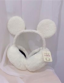 Fashion Milky White Lamb Wool Mickey Plush Hit Color Ear Warmers