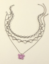 Fashion Purple Heart Round Bead Butterfly Alloy Hollow Necklace Set