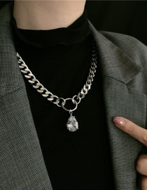 Fashion Silver Large Thick Chain Zircon Crystal Necklace