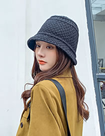 Fashion Black Pure Color Wool Knitted Fisherman Hat