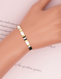 Fashion Black And White Rice Beads Contrasting Color Elastic Bracelet