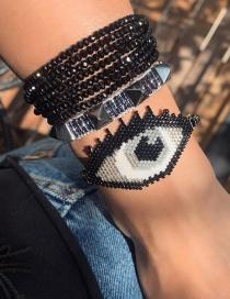 Fashion Set Price Black Rice Beads Hand-woven Crystal Rivet Eye Bracelet