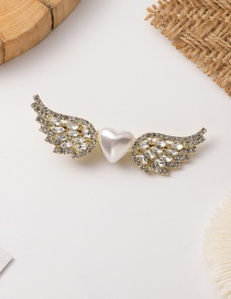 Fashion Golden Pearl Angel Wings Love Alloy Hairpin