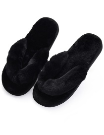 Fashion Black Plush Flat Flip Flops