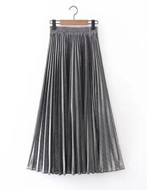 Fashion Silver Pleated Elastic Waist Plus Size Skirt