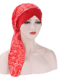 Fashion Red Curved Printed Tail Forehead Cross Cap