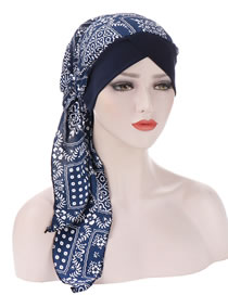 Fashion Navy Curved Printed Tail Forehead Cross Cap
