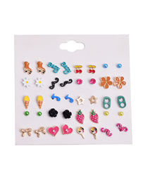 Fashion Color Mixing Drop Oil Flower Love Geometric Earrings Set
