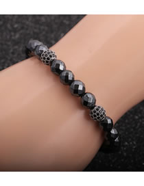 Fashion Gray Faceted Gallstone Micro-inlaid Zircon Diamond Ball Bracelet