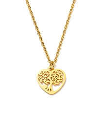 Fashion Golden Peach Heart Tree Of Life Titanium Steel Full Polished Laser Cut Love Tree Of Life Necklace