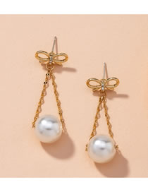 Fashion Golden Alloy Inlaid Pearl Bow And Micro Inlaid Zircon Earrings