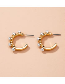 Fashion Inlaid With Pearls C-shaped Pearl Twisted Alloy Stud Earrings