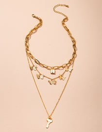 Fashion Golden Butterfly Key Lock Alloy Multilayer Necklace