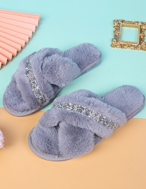 Fashion Gray Home Indoor Non-slip Flat-bottomed Cross Woolen Cotton Slippers