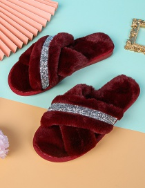 Fashion Red Wine Home Indoor Non-slip Flat-bottomed Cross Woolen Cotton Slippers