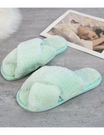 Fashion Light Green Cross Plush Slip-toe Indoor Slippers