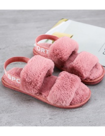 Fashion Dark Powder Plush Slippers With Letter Print On Heel