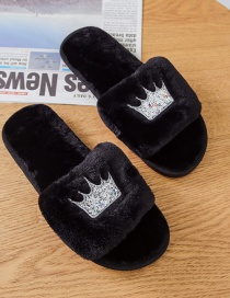 Fashion Black Home Slip-resistant Crown Plush Slippers