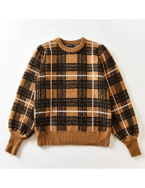 Fashion Ginger Contrast Round Neck Plaid Sweater