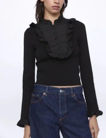 Fashion Knitting Patchwork Ruffled Slim-fit Sweater