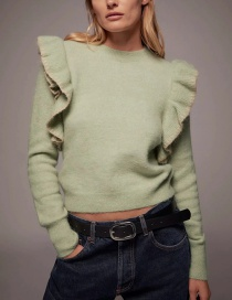 Fashion Green Ruffled Round Neck Loose Sweater