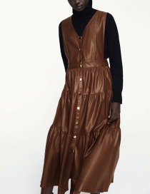 Fashion Brown Faux Leather V-neck Stitching Vest Skirt