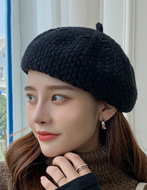 Fashion Black Wool Knitted Solid Color Beret