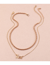 Fashion Gold Color English Alphabet Twist Chain Alloy Multilayer Necklace