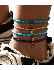 Fashion Blue Lock Shaped Geometric Pendant Hand Woven Rice Bead Multilayer Anklet