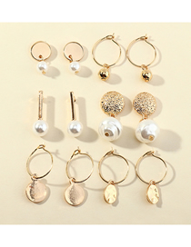 Fashion Gold Color Circle Pearl Geometric Alloy Earrings Set
