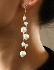 Fashion White Long Pearl And Diamond Tassel Alloy Earrings
