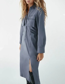 Fashion Blue Pleated Solid Color Shirt Dress