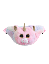 Fashion Pink Tie-dye Unicorn Plush One-shoulder Messenger Bag
